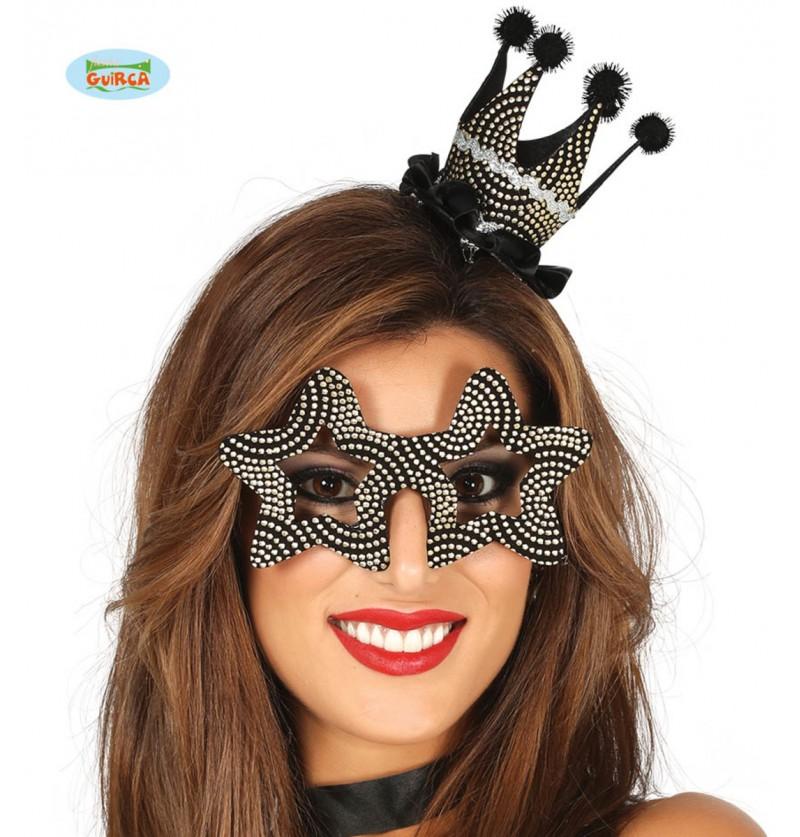 Set corona y gafas negras y plateadas para adulto