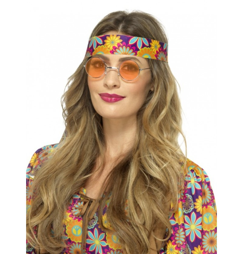 Gafas de hippie redondas naranjas para adulto