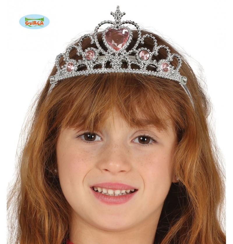 Corona de princesa plateada para niña