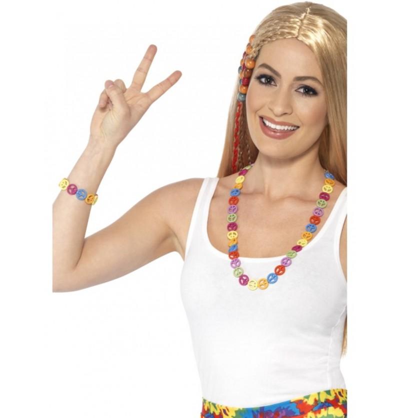 Set de collar y pulsera con simbolos de paz multicolor para adulto