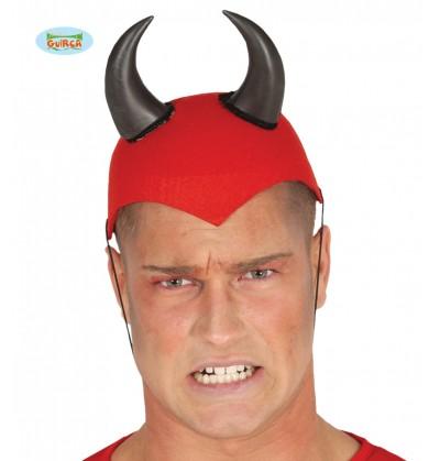 Casco de demonio rojo con cuernos para adulto