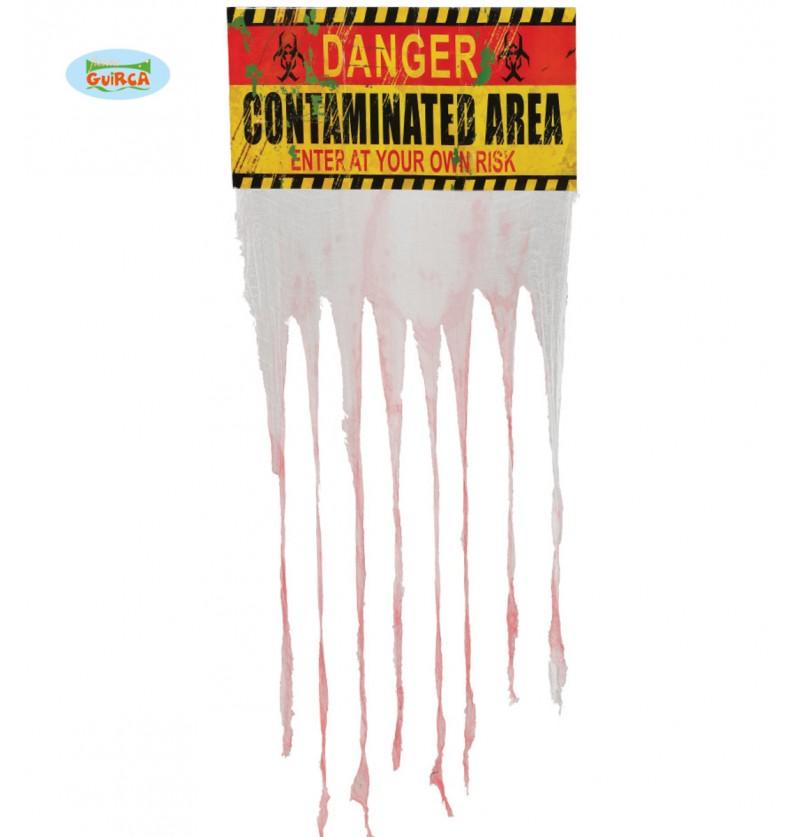 Letrero Danger Contaminated Area con cortina