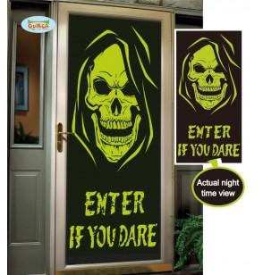 Decoración para puerta Enter if you dare fluorescente