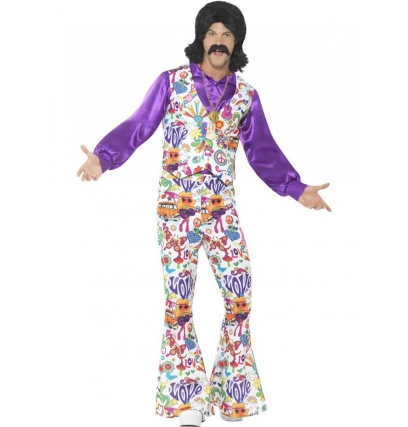Disfraz de sesentero colorido para hombre