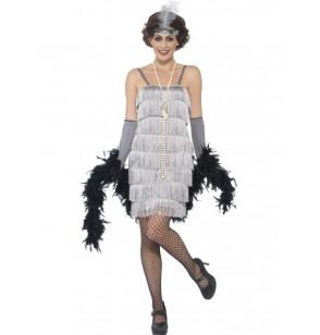 Disfraz de charlestón años 20 plateado para mujer