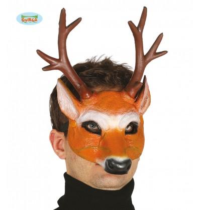 Media máscara de ciervo con cuernos de foam para adulto
