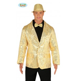 Chaqueta de lentejuelas doradas para hombre