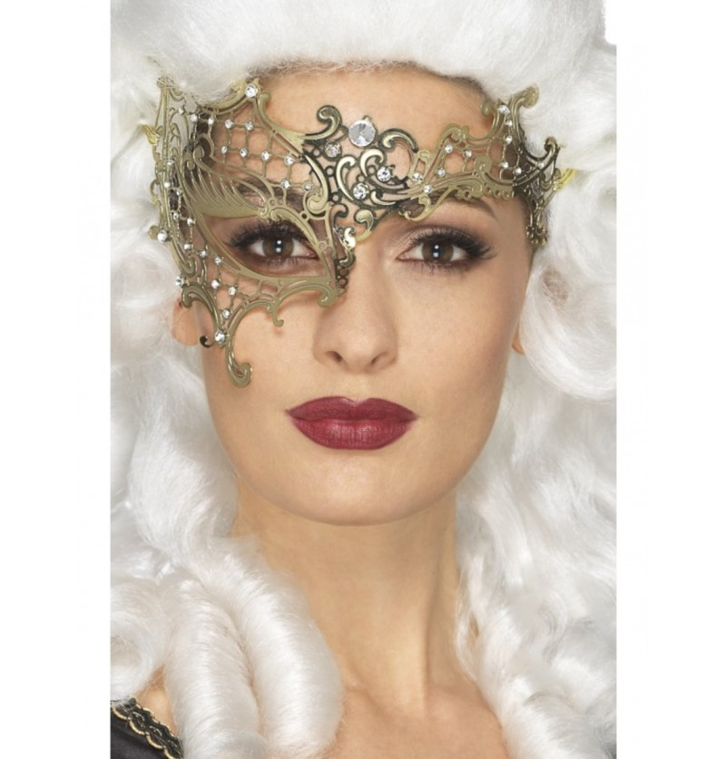 Antifaz de fantasma de la ópera dorado para mujer