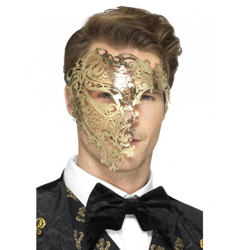 Media máscara de fantasma de la ópera dorada para hombre