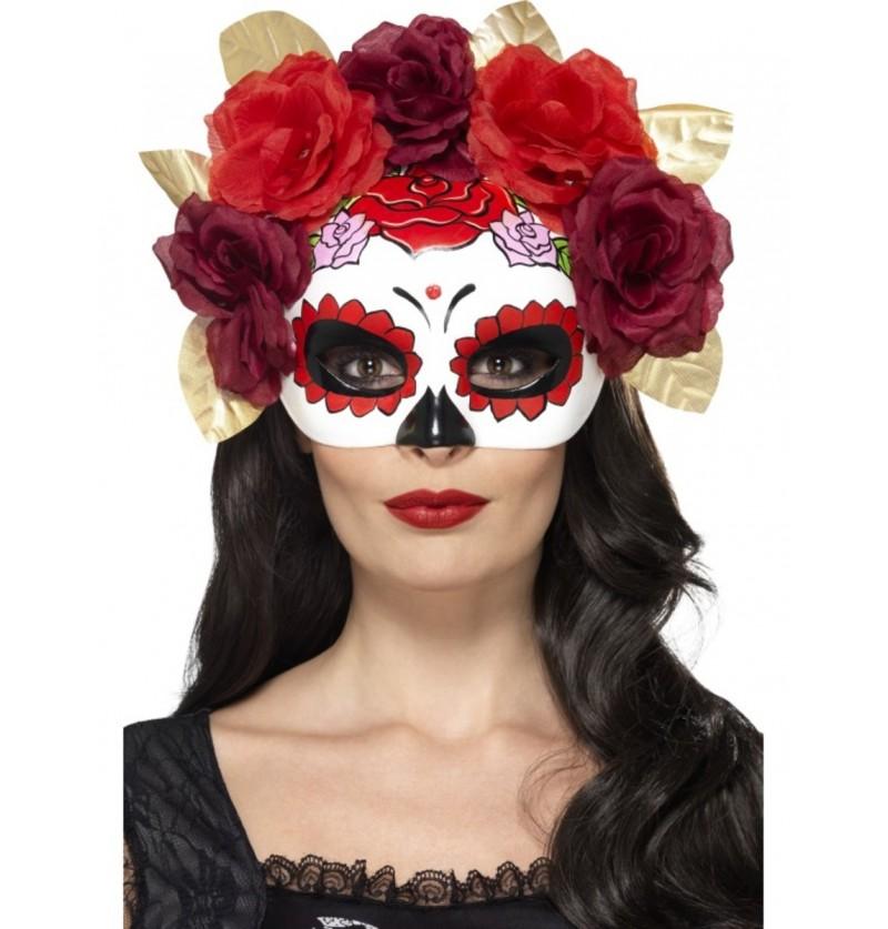 Antifaz de Catrina con flores rojas y granates para mujer