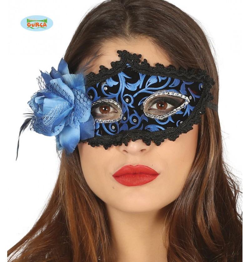 Antifaz veneciano negro y azul con flor para mujer