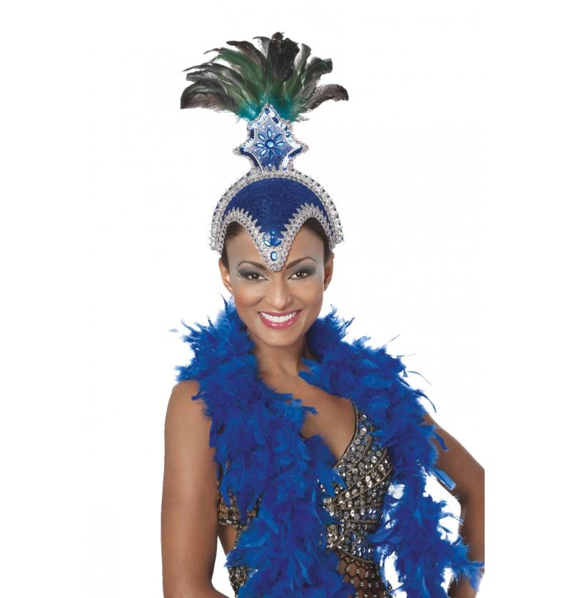 tocado de carnaval brasileo con plumas azul para mujer