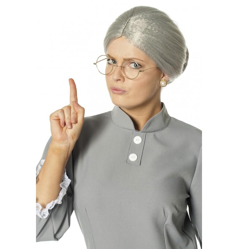 peluca de anciana gris para mujer