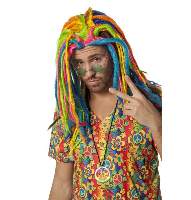 peluca rasta multicolor para adulto