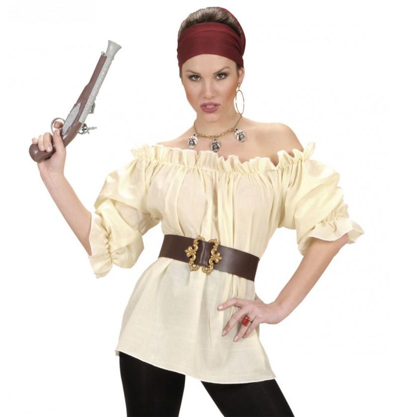 Camisa pirata beige para mujer talla grande