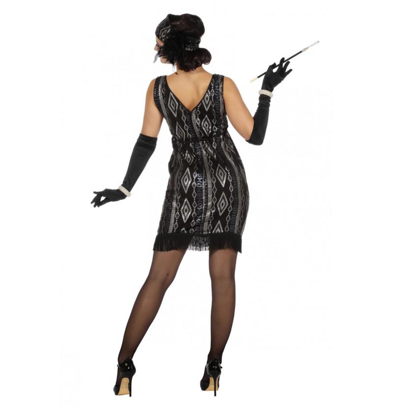 disfraz de charlestn negro y plateado para mujer