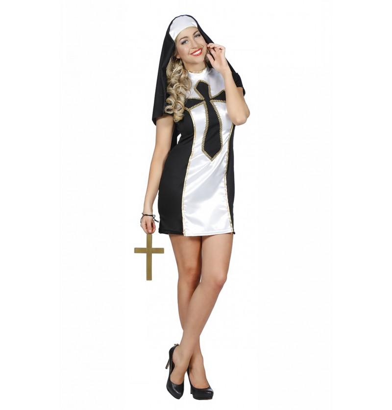 disfraz de monja negro para mujer