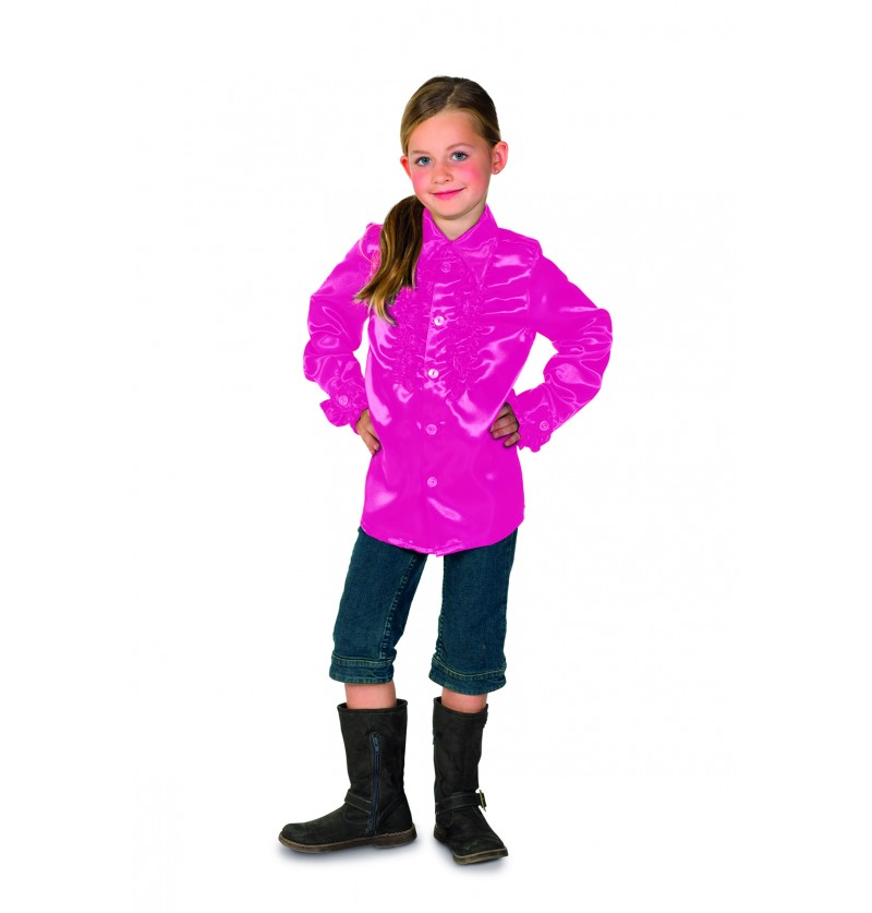camisa disco de los 70 s rosa infantil