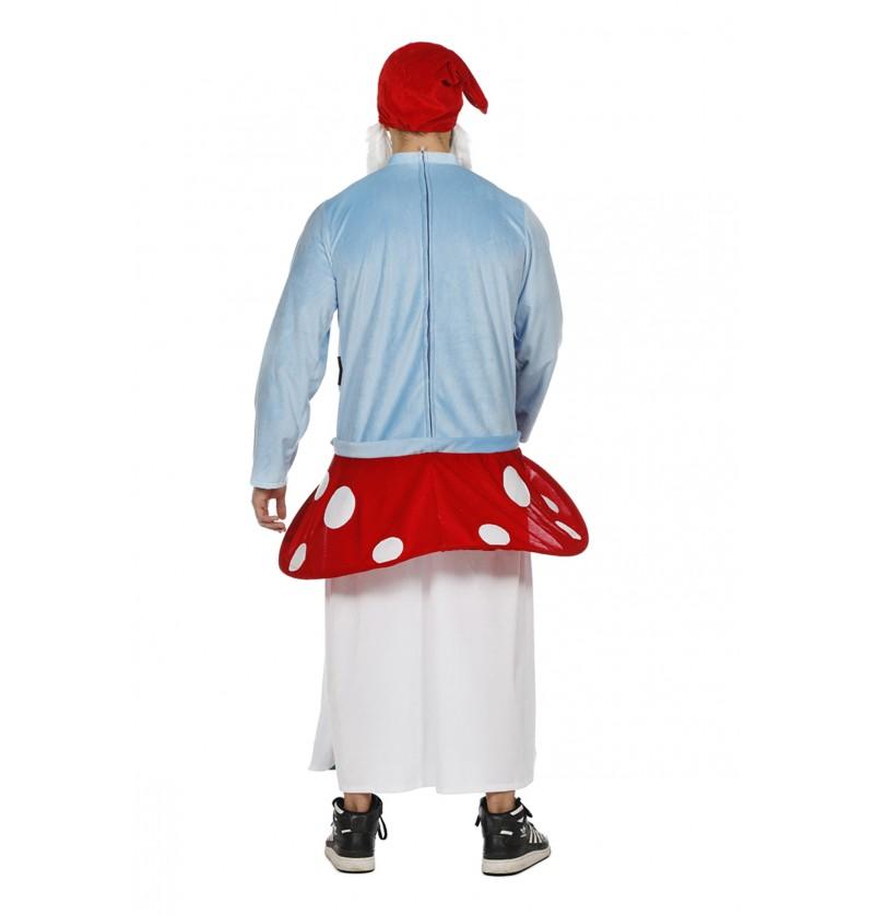disfraz de gnomo sentado sobre seta ride on para adulto