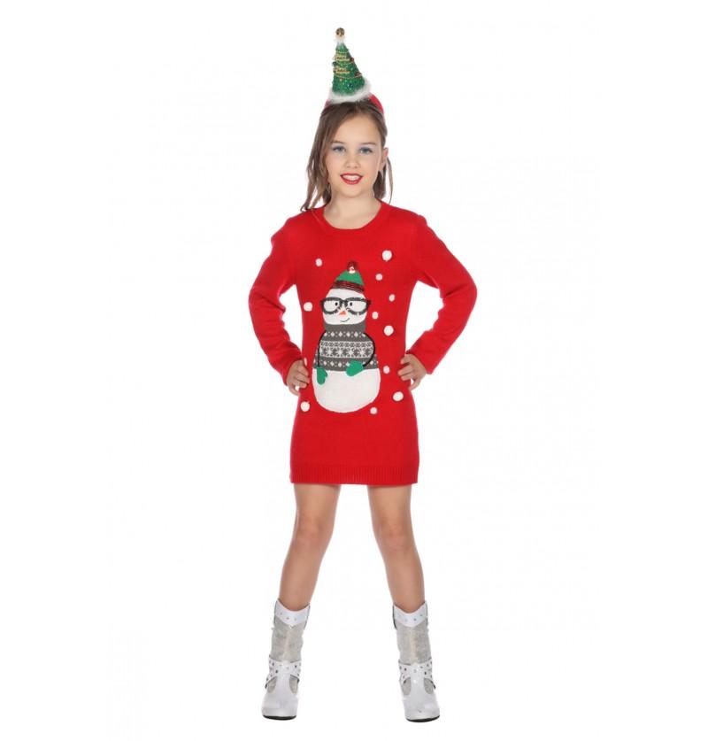 vestido navideo rojo para nia