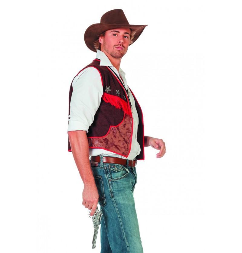 chaleco de vaquero marrn para hombre