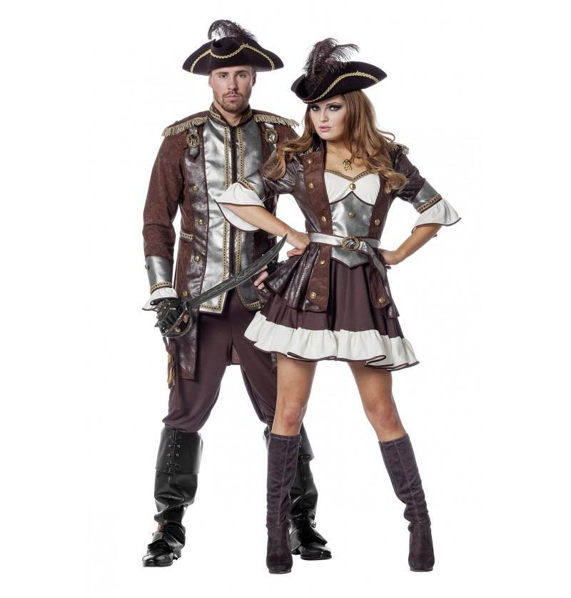 disfraz de pirata deluxe marrn para mujer