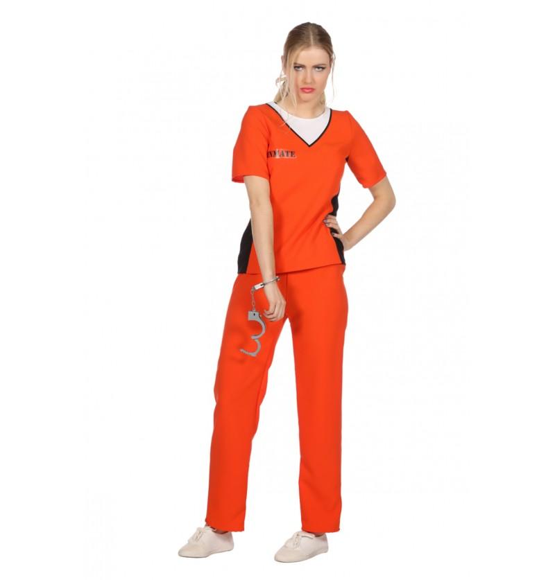 disfraz de presidiario naranja para mujer