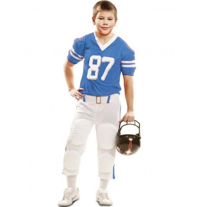 Disfraz de jugador de fútbol americano azul 87 para niño