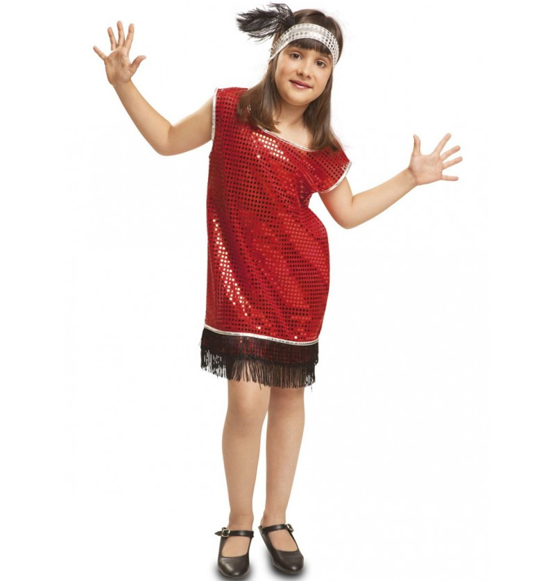 Disfraz de charlestón rojo con flecos negros para niña