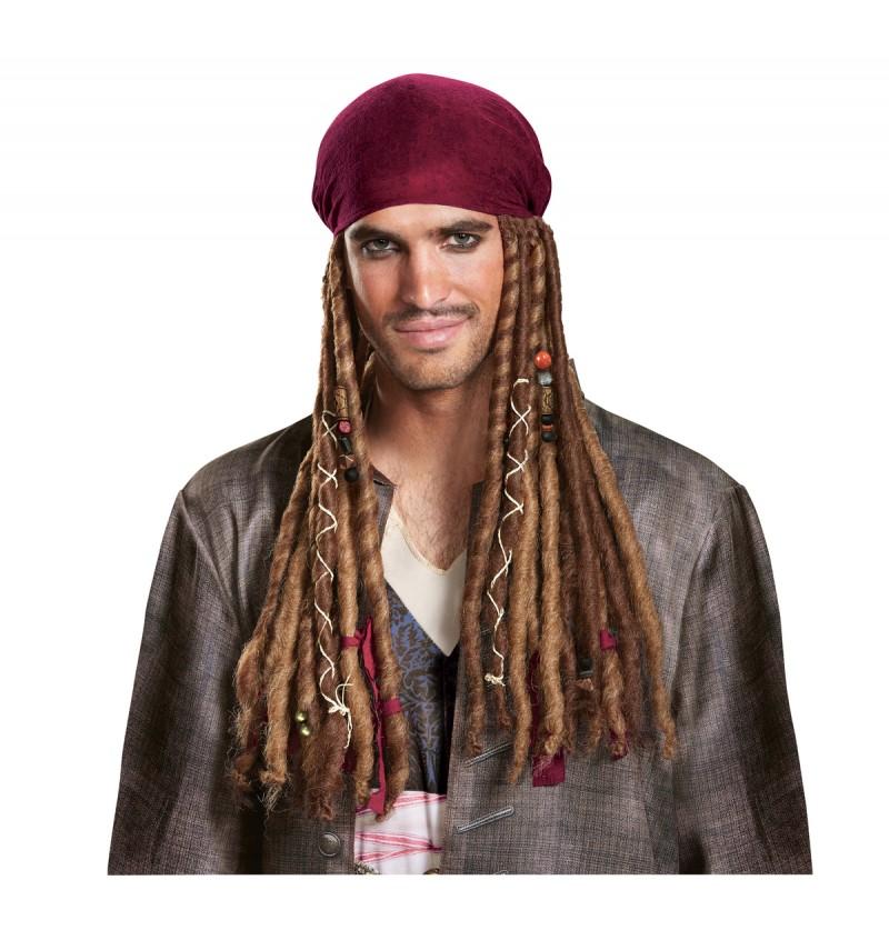Bandana con pelo de Jack Sparrow La venganza de Salazar para adulto