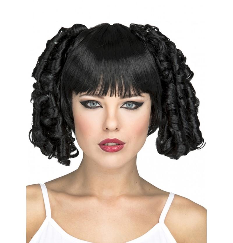 peluca con coletas de bucles negros para mujer
