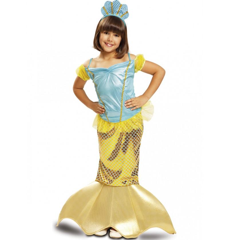 Disfraz de sirenita amarilla de los mares para niña