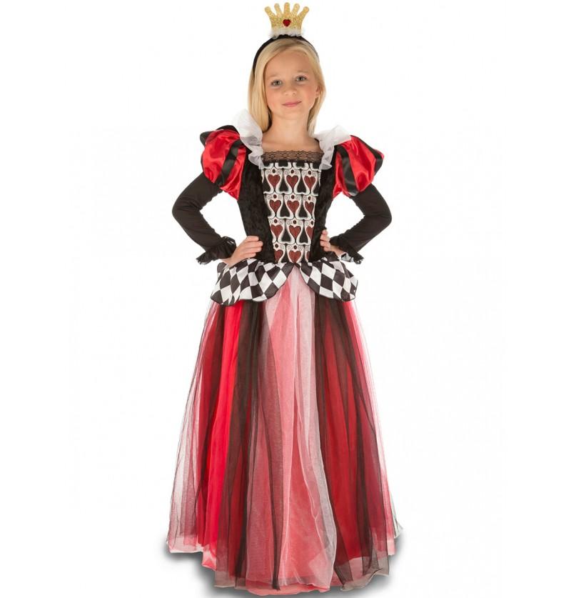 Disfraz de reina de corazones encantadora para niña