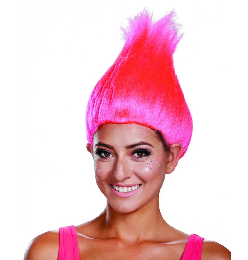 Peluca de Trolls rosa neon para adulto
