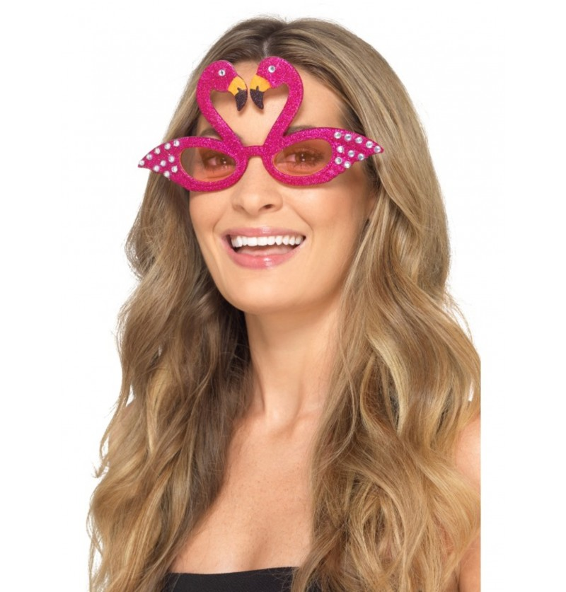 gafas de flamenco rosas con brillantes