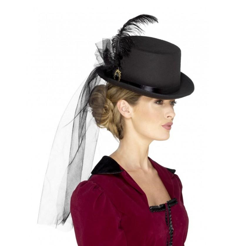 sombrero victoriano con pluma y velo negro para adulto