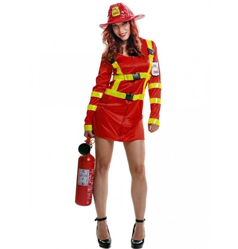 Disfraz de bombero apagafuegos para mujer
