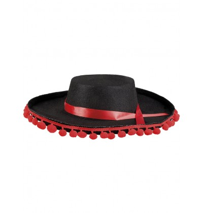 sombrero cordobs negro con borlas rojas para adulto