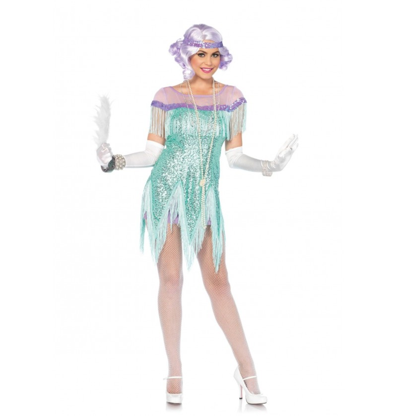 disfraz de los aos 20 turquesa para mujer