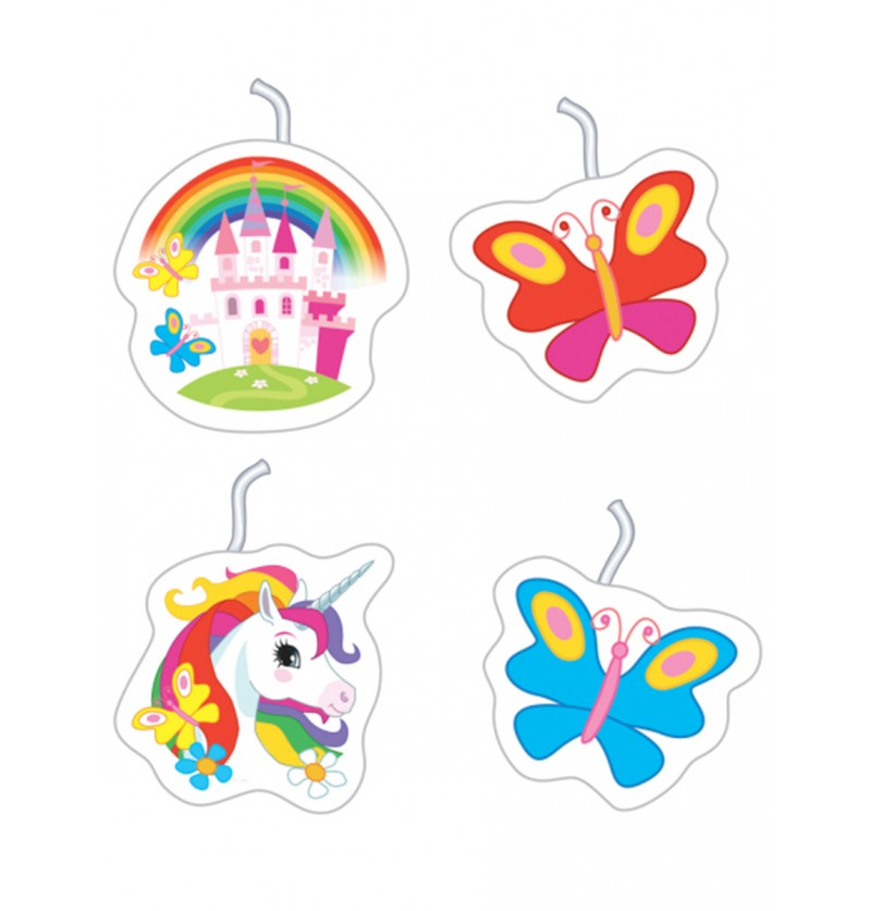 Set de 4 velas Unicornio