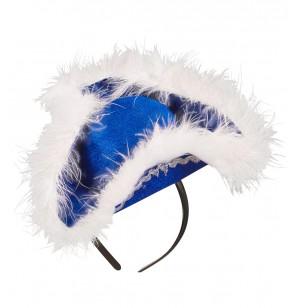 diadema de tricornio azul con marab para mujer