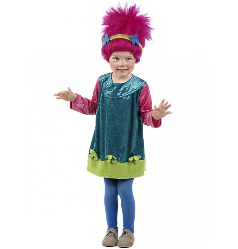 Disfraz de troll rosa para bebé