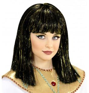 Peluca de Cleopatra con hilos metalizados para niña