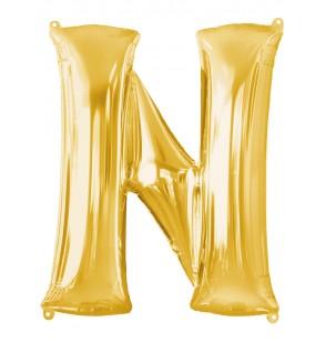 Globo letra N dorado