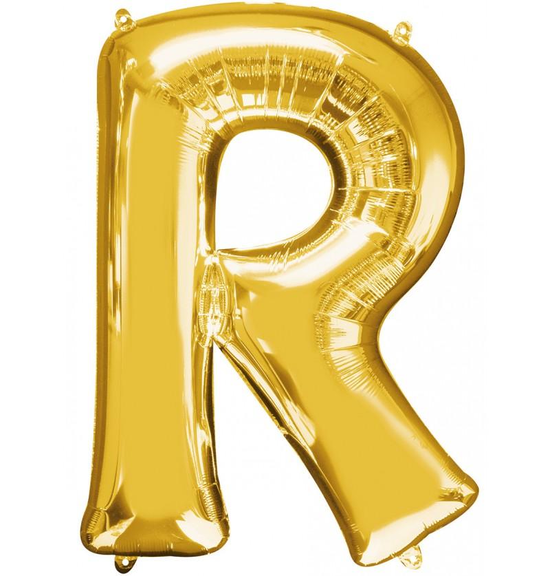 Globo letra R dorado