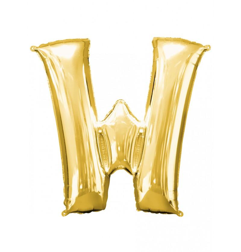 Globo letra W dorado